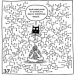 """Lucy sits cross legged in the middle of a geometric design where one line branches out into hundreds of paths. The demon mimics her position above her, saying """"Your indecision is going to drive everyone away."""""""