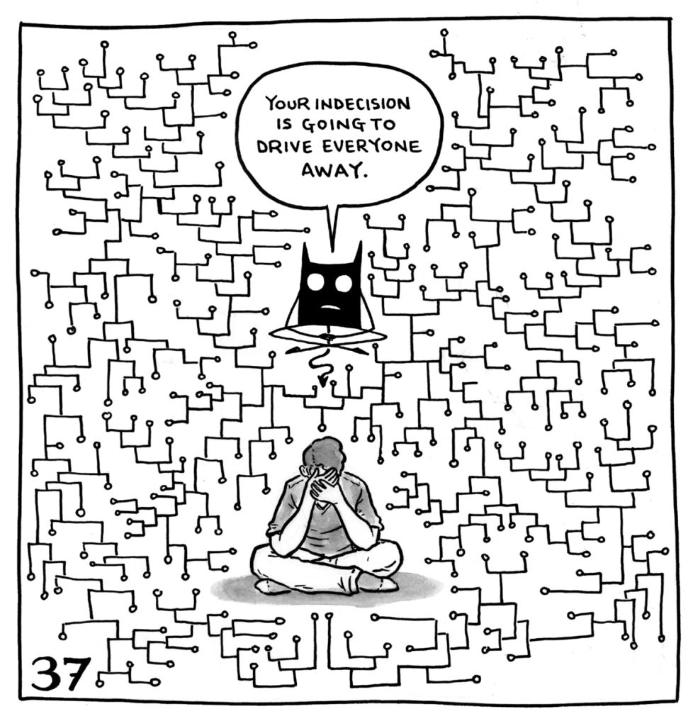 "Lucy sits cross legged in the middle of a geometric design where one line branches out into hundreds of paths. The demon mimics her position above her, saying ""Your indecision is going to drive everyone away."""