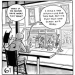 """Lucy and the demon sit in a cafe, looking at people across the street. The demon asks, """"What if we never have what they have?"""" Lucy replies, """"I wish I had a platitude for this one, but it's just ugly and scary and real."""""""