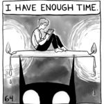 """Lucy is working on a comic, sitting on a large candle with both ends burning. The candle is resting on top of the demon's pointy ears. Lucy is saying, """"I have enough time."""""""