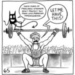 """Lucy is lifting a large weight in front of a cheering crowd. Her demon sits on the weight and says, """"These feats of freelance strenght won't protect you from life's perpetual impermanence."""" Lucy yells back, """"LET ME HAVE THIS!"""""""