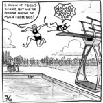 """Lucy is jumping off of the high dive, pulling her demon off the board by its tail while a group of people cheer them on. Lucy says, """"I know it feels scary, but we're gonna grow so much from this!"""" while the demon is howls a drawn out """"NO!"""""""