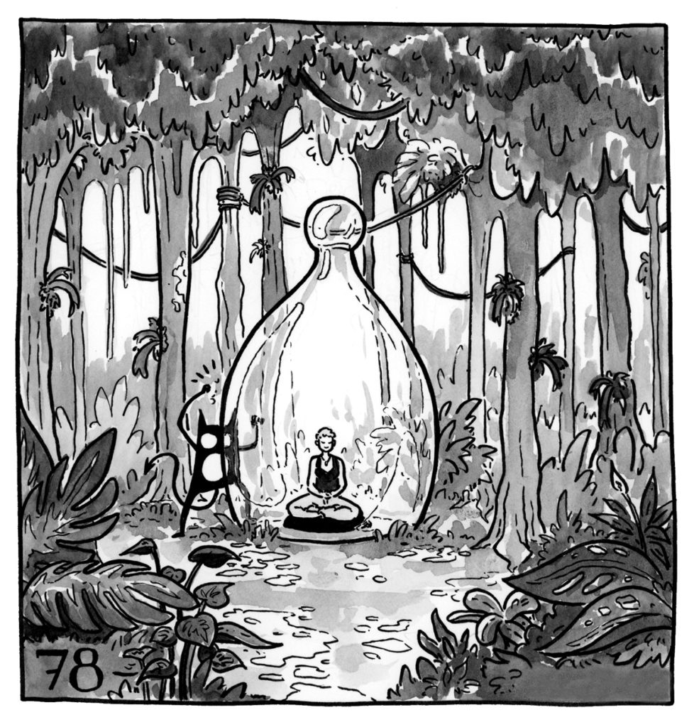 Lucy is sitting in a large glass bulb in a beautiful, lush forest, eyes closed, meditating while her demon pounds uselessly at the glass.