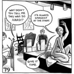 """The demon is in a figure drawing class, sitting at an easel while Lucy poses. The demon says, """"Why didn't you tell me this was so HARD!?"""" Lucy replies, """"It's always hardest at the start. Give it time."""""""