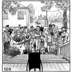 The demon looks out at the front yard. A crowd of people stand there, all age groups, all types of people, all holding their very own smiling demons.