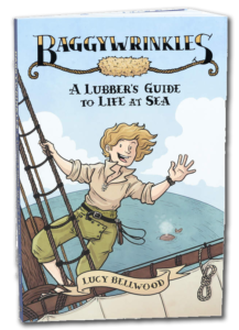 The cover of Baggywrinkles, a colorful book with a girl waving from the rigging of a tall ship.