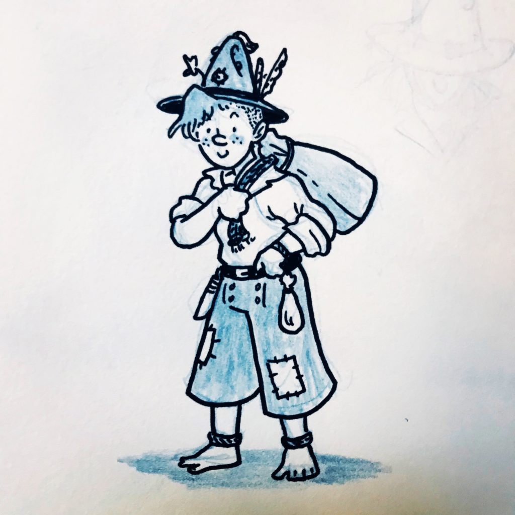 A drawing of a cute gnome wearing the pointy felt hat from earlier.