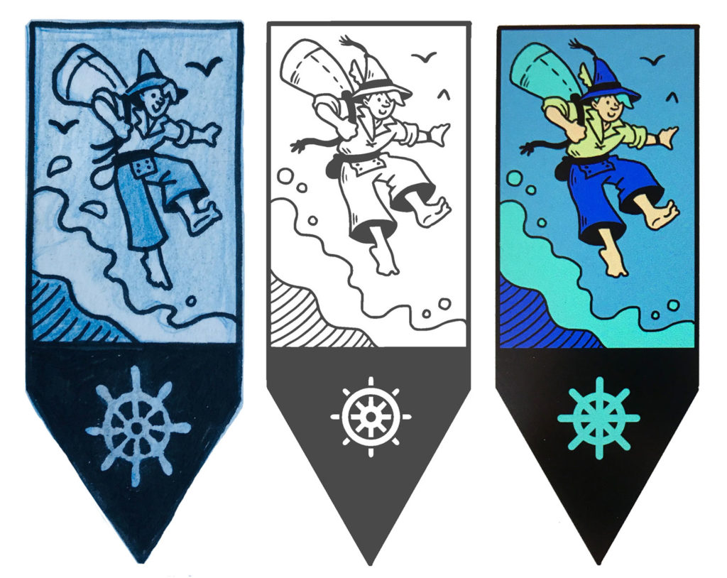 Step-by-step drawings of the boat gnome pin.