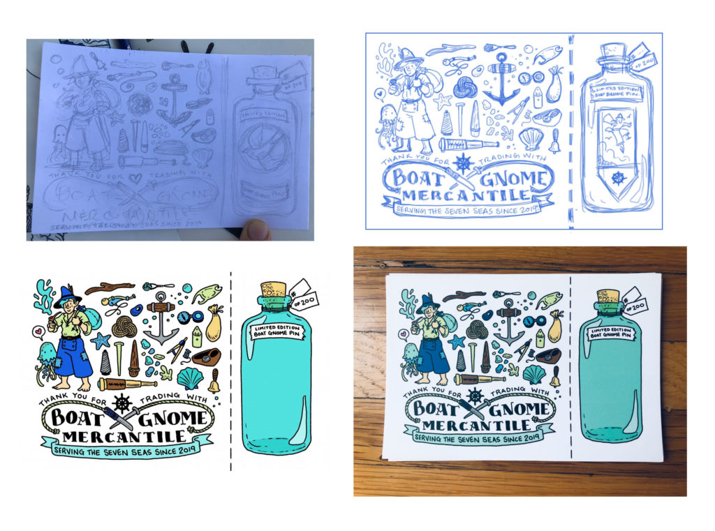 Step-by-step sketches of the postcard design from earlier.