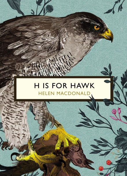 Vintage Classics edition cover of H is for Hawk by Helen MacDonald, illustrated with an elegant goshawk on a blue background.