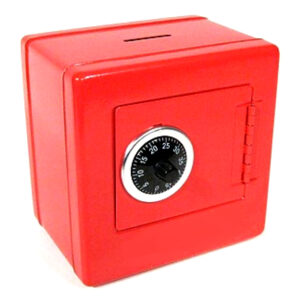 A squat red safe with a piggy bank slot in the top and a black combination lock on the door.