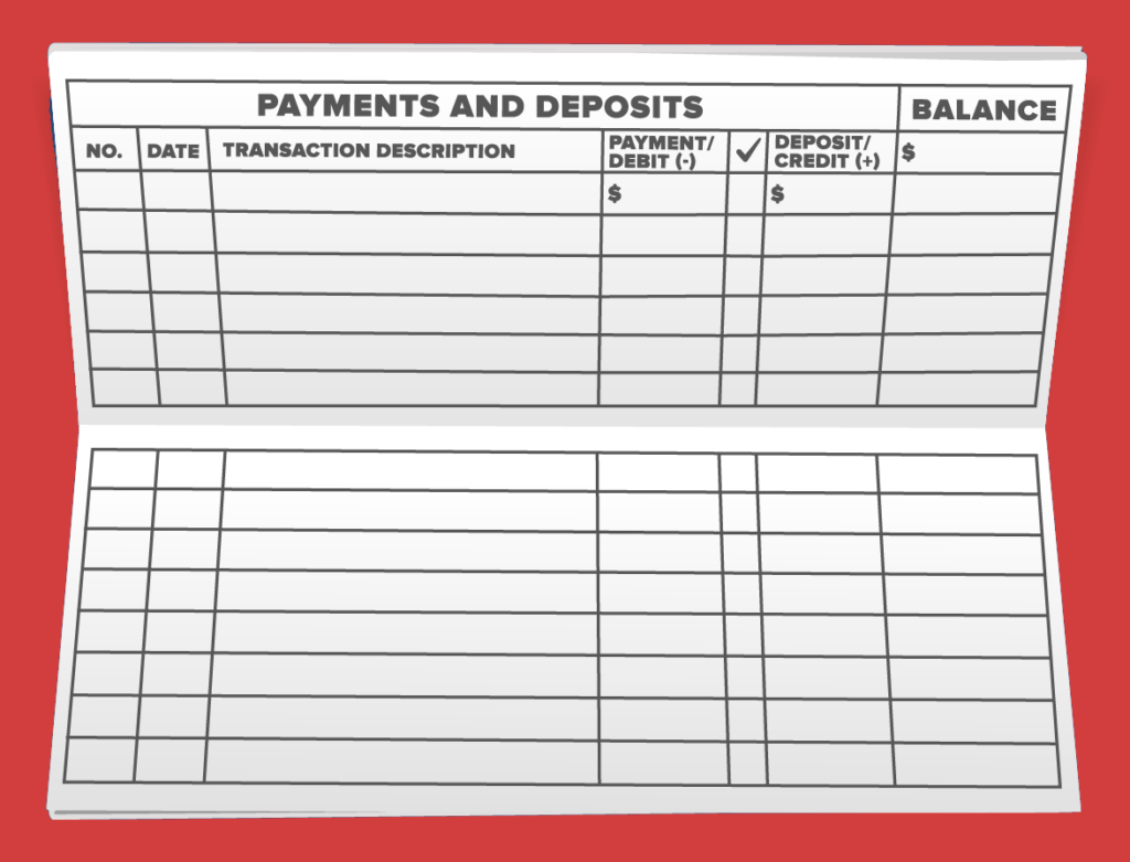 An unfolded checkbook with columns for Number, Date, Transaction Description, Debit, Credit, and Balance.
