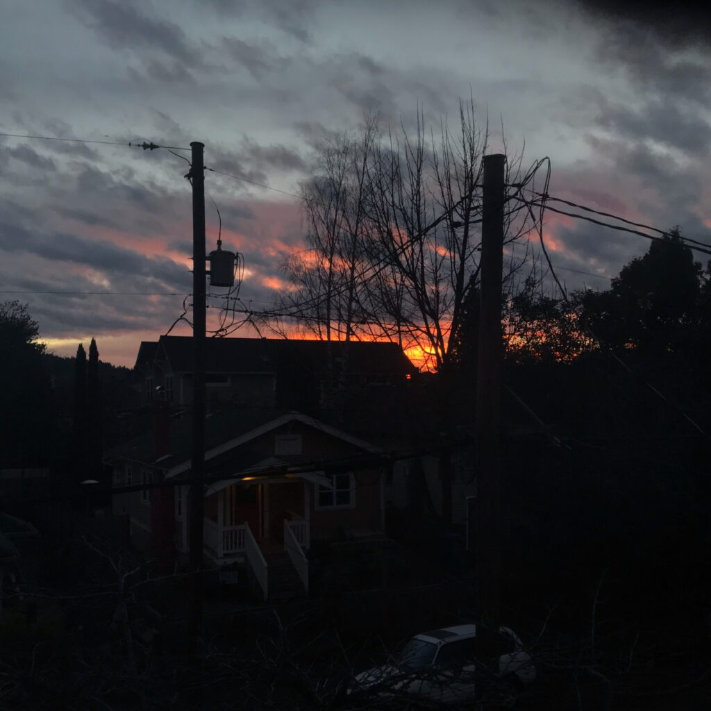 A moody photograph of a skyline at sunrise. There are black buildings and telephone poles silhouetted in the foreground and a streak of orange against slate-grey clouds on the horizon.