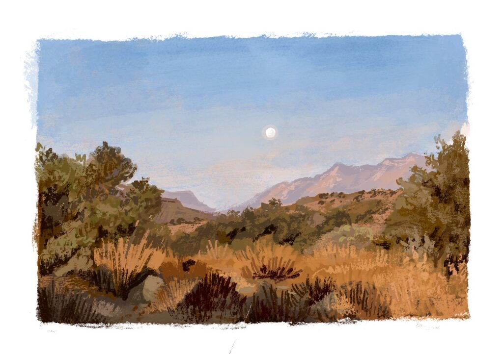 A dusky digital painting of a desert at dawn. The sky is light blue and there's a tiny moon rising above pink mountains. The foreground is full of yellow, scrubby brush.