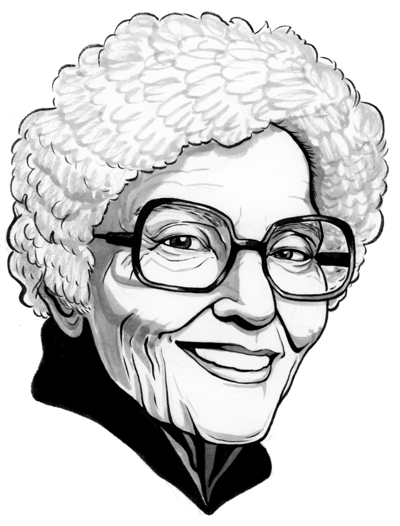 A pen and inkwash illustration of author May Sarton toward the end of her life. She has a cloud of white hair, large, chunky glasses, and a wise smile.