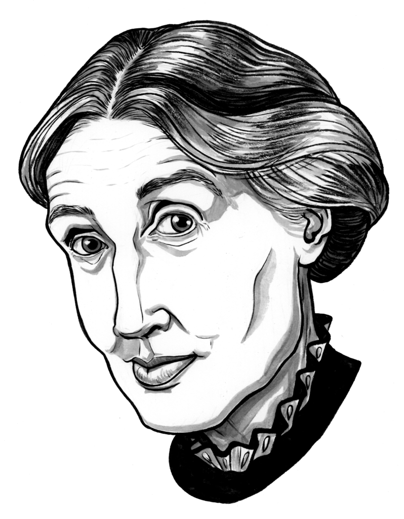 A pen and inkwash illustration of Virginia Woolf. She has a long face, dark, swept-back hair, a high collar, and a slight smirk. Her cheekbones are pronounced and her eyes are hooded.