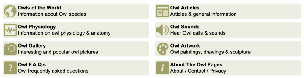 A screenshot from Owl Pages Dot Com showing eight sections titled Owls of the World, Owl Physiology, Owl Gallery, Owl FAQs, Owl Articles, Owl Sounds, Owl Artwork, and About the Owl Pages.