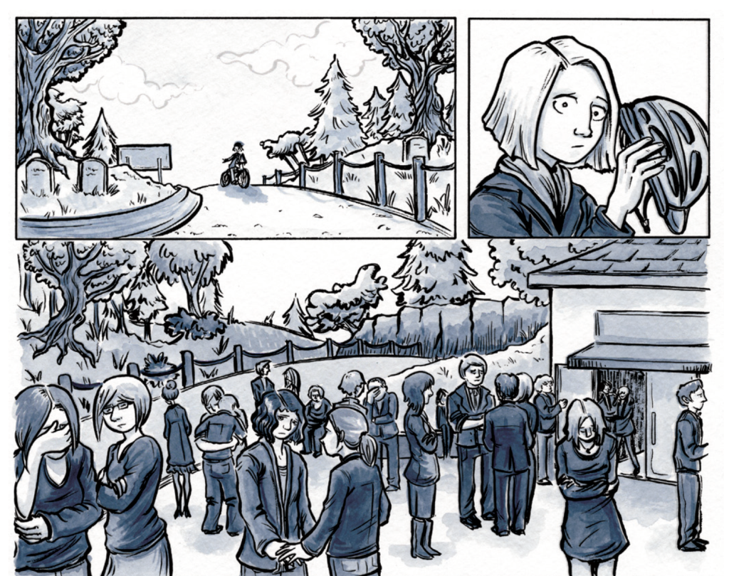 Three illustrated comics panels done in ink with a grey-blue watercolor wash. Panel one: a woman rides up a hill on a bike. Panel two: she takes off her helmet, looking sad and worried. Panel 3: a wide shot of mourners at a funeral, all looking back at her.