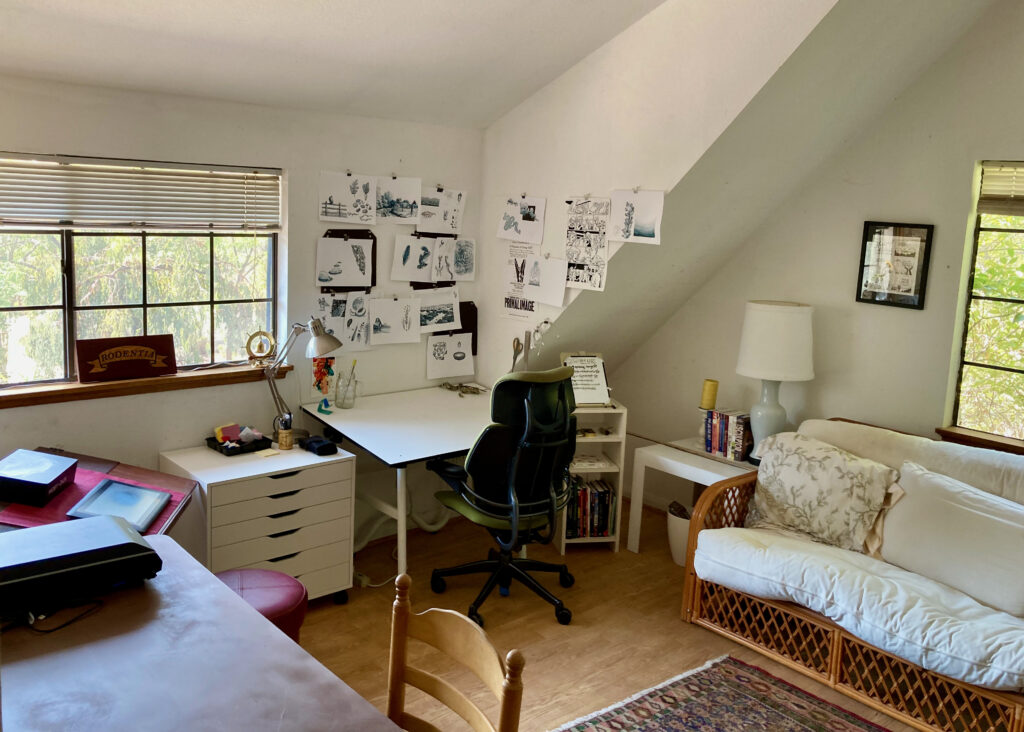A light, airy studio space with a white desk, an office chair, and a flat file. There are pieces of art tacked to the walls and two windows looking out onto greenery. There's a white futon couch against one wall and a Persian rug on the floor.